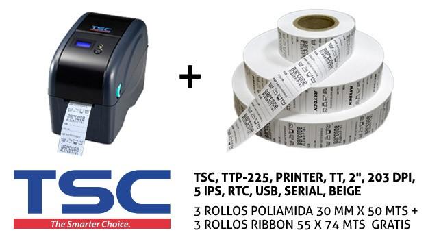 PRINTER TSC TTP-225 + 3R POLIAMIDA + 3 R RIBBON